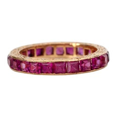 Vintage Art Deco 18 Karat Gold Ruby Eternity Band with Etching