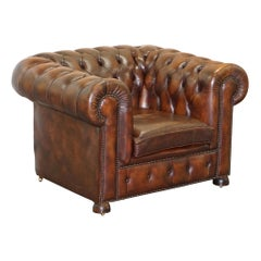 Vintage Art Deco 1920 Brown Leather Hand Dyed Coil Sprung Chesterfield Armchair