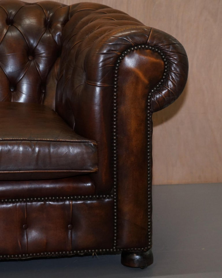 Vintage Art Deco 1920s Brown Leather Hand Dyed Coil Sprung Chesterfield Sofa 4