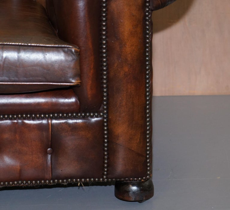 Vintage Art Deco 1920s Brown Leather Hand Dyed Coil Sprung Chesterfield Sofa 5