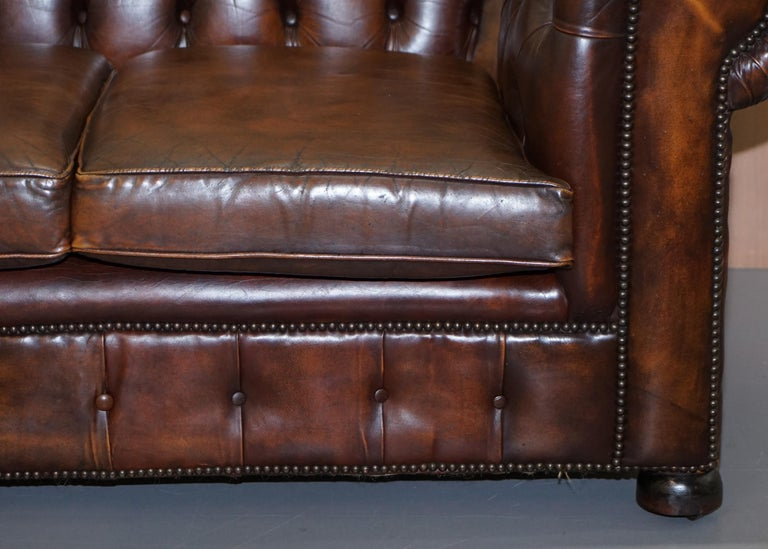 Vintage Art Deco 1920s Brown Leather Hand Dyed Coil Sprung Chesterfield Sofa 6