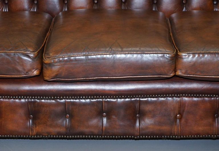 Vintage Art Deco 1920s Brown Leather Hand Dyed Coil Sprung Chesterfield Sofa 7
