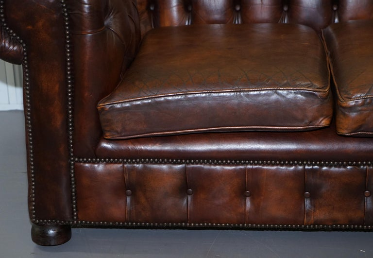 Vintage Art Deco 1920s Brown Leather Hand Dyed Coil Sprung Chesterfield Sofa 8