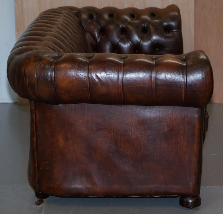 Vintage Art Deco 1920s Brown Leather Hand Dyed Coil Sprung Chesterfield Sofa 9