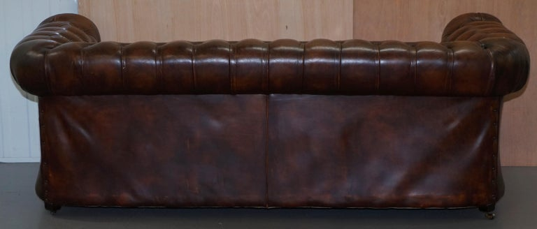 Vintage Art Deco 1920s Brown Leather Hand Dyed Coil Sprung Chesterfield Sofa 12