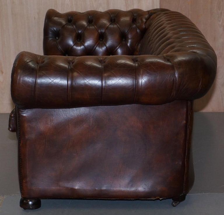 Vintage Art Deco 1920s Brown Leather Hand Dyed Coil Sprung Chesterfield Sofa 13