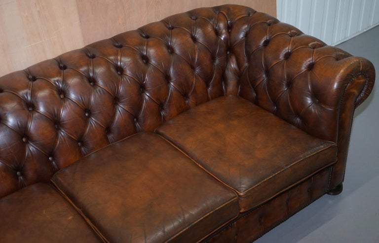 Hand-Crafted Vintage Art Deco 1920s Brown Leather Hand Dyed Coil Sprung Chesterfield Sofa