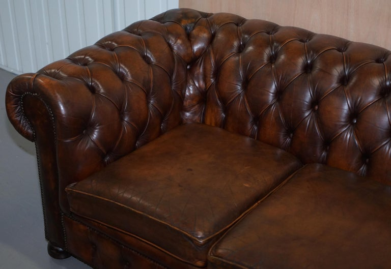 Vintage Art Deco 1920s Brown Leather Hand Dyed Coil Sprung Chesterfield Sofa In Good Condition In London, GB