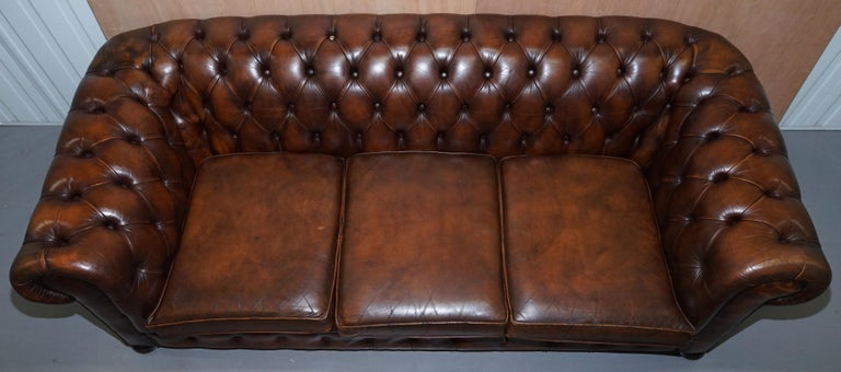 Early 20th Century Vintage Art Deco 1920s Brown Leather Hand Dyed Coil Sprung Chesterfield Sofa