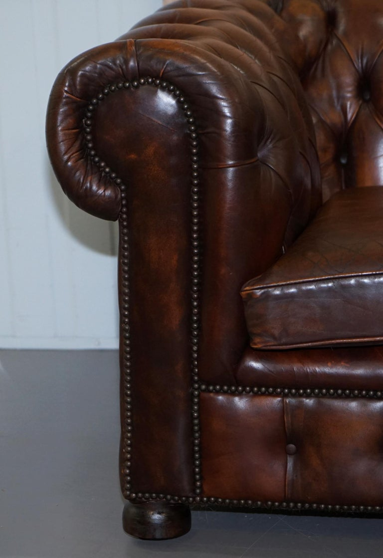 Vintage Art Deco 1920s Brown Leather Hand Dyed Coil Sprung Chesterfield Sofa 1