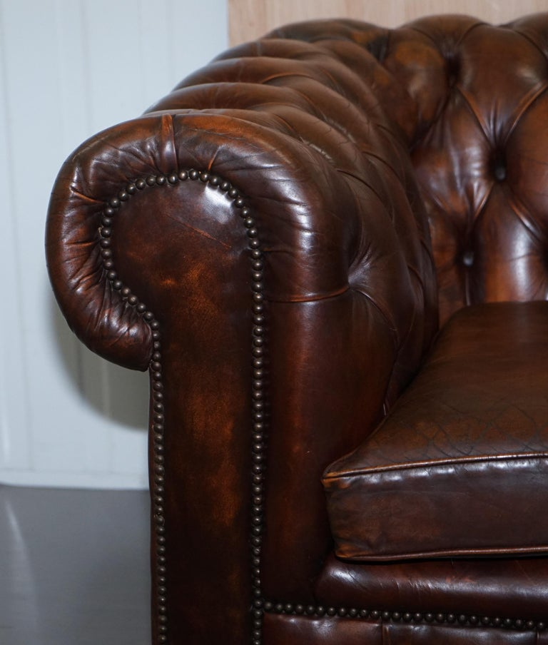 Vintage Art Deco 1920s Brown Leather Hand Dyed Coil Sprung Chesterfield Sofa 2