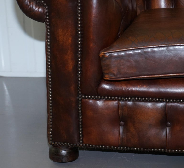 Vintage Art Deco 1920s Brown Leather Hand Dyed Coil Sprung Chesterfield Sofa 3