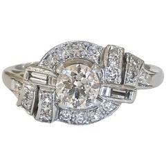 Vintage Art Deco 1920s Old European Cut Diamond Ring 1.06 Carat Platinum