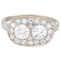 Vintage Art Deco 1.92ct Diamond Ring Platinum Estate Fine Jewelry Oval