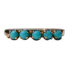 Vintage Art Deco 1930s 14 Karat Rose Gold Five-Stone Turquoise Ring