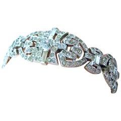 Vintage Art Deco 1930s Signed Trifari KTF Crystals Bracelet