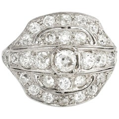Vintage Art Deco 2.25 Carat Diamond Ring Platinum Fine Jewelry Heirloom