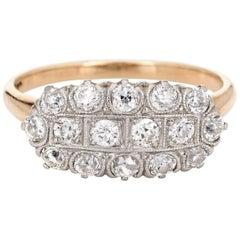Vintage Art Deco 3-Row Diamond Ring Old Mine Cuts 14 Karat Gold Platinum Jewelry