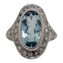 Vintage Art Deco 3.95 Carat Aquamarine Cocktail Ring, circa 1930s