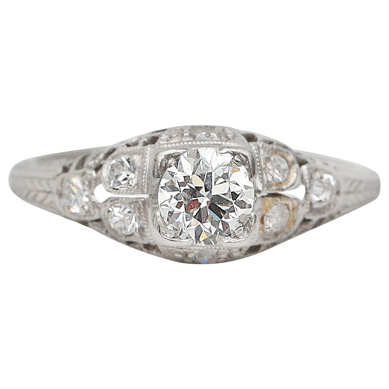 Vintage Art Deco .50 Carat Diamond Platinum Engagement Ring