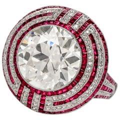 Vintage Art Deco 6.05 Carat Old European Cut Diamond Ruby Platinum Ring