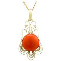 Vintage Art Deco 7.47Ct Coral and Yellow Gold Pendant, Circa 1940