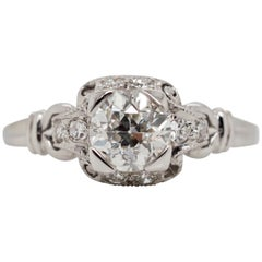 Vintage Art Deco .82 Carat Diamond Platinum Engagement Ring