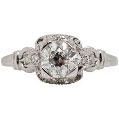 Vintage Art Deco .82 Carat Diamond Platinum Engagement Ring