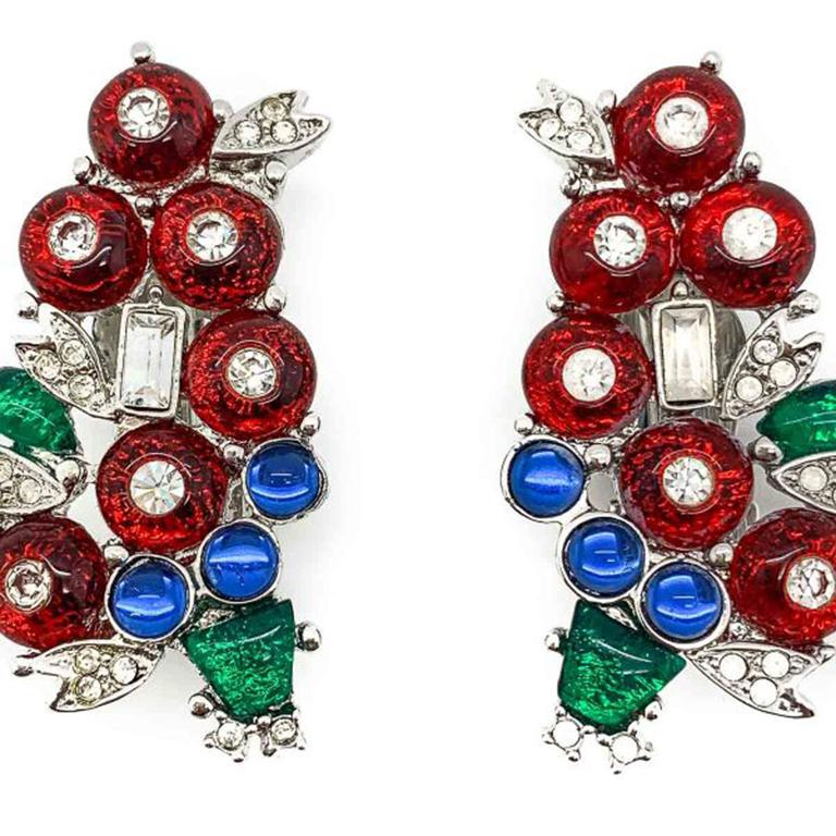 Vintage Art Deco '89 Tutti Frutti Earrings 1980s In Good Condition For Sale In Wilmslow, GB