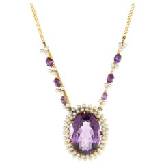 Vintage Art Deco Amethyst Seed Pearl Necklace 14k Yellow Gold Drop Jewelry
