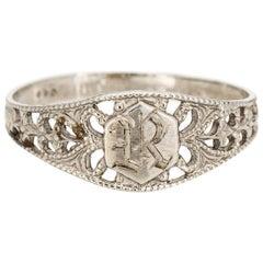 Vintage Art Deco Baby Ring Letter R Signet 10 Karat White Gold Filigree Midi