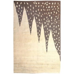 Vintage Art Deco Beige and Brown Hand Knotted Wool Rug