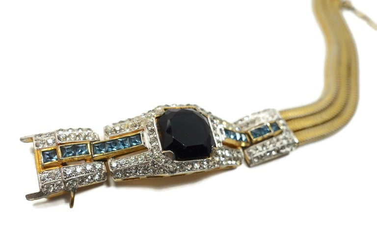 Vintage Art Deco Black, Blue & Clear Crystal Bracelet For Sale 2