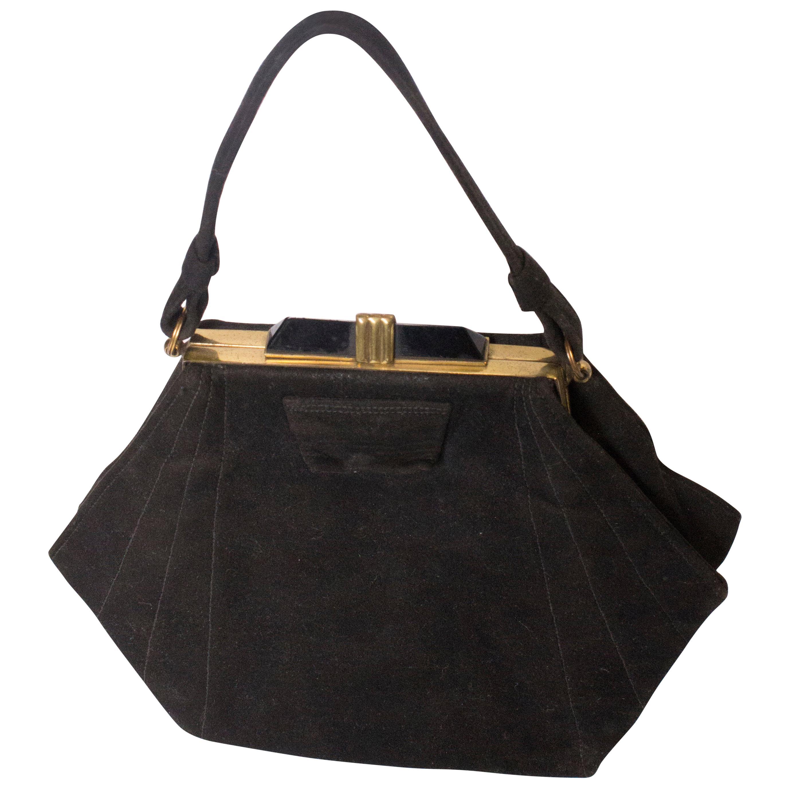 Vintage Art Deco Black Suede Handbag