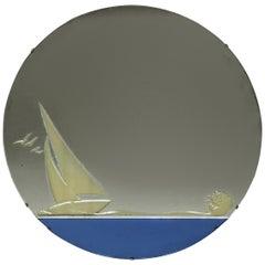 Vintage Art Deco Blue Glass Etched Nautical Theme Wall Mirror, Circa 1930