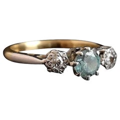 Vintage Art Deco Blue Zircon and Diamond Ring, 18k Yellow Gold and Platinum