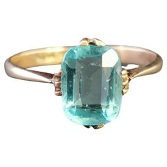 Vintage Art Deco Blue Zircon Solitaire Ring, 9 Karat Yellow Gold