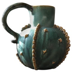 "Vintage Art Deco Bourne Denby Pottery English ""Emerald"" Pitcher, Turquoise"