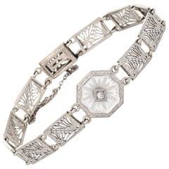Vintage Art Deco Bracelet Diamond Filigree 14 Karat Gold Estate 1920s Jewelry