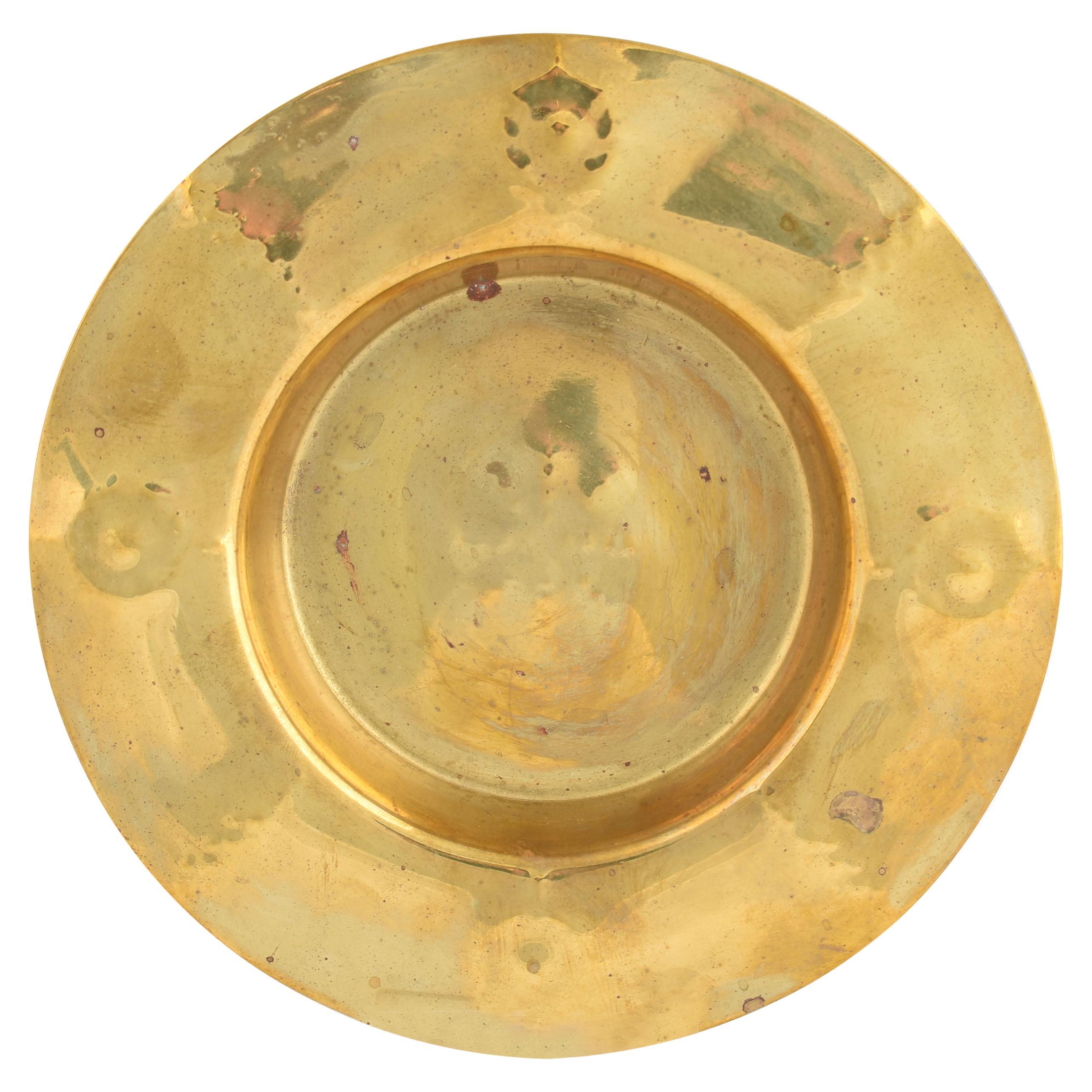 Vintage Art Deco Brass Plate by Albert Kahlbrandt, Germany, 1920s