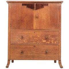 Vintage Art Deco British Oak Maple & Co Tallboy Compactum Chest of Drawers