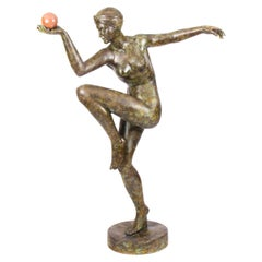 Vintage Art Deco Bronze Statue of Dancing Lady with Ball Late, 20th Century