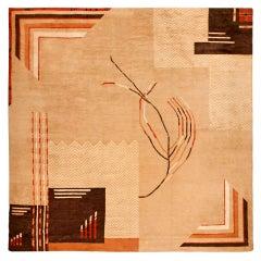 Vintage Art Deco Camel, Beige & Brown Handwoven Wool Rug
