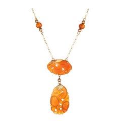 Vintage Art Deco Carved Carnelian Necklace Drop 14 Karat Gold Antique Jewelry