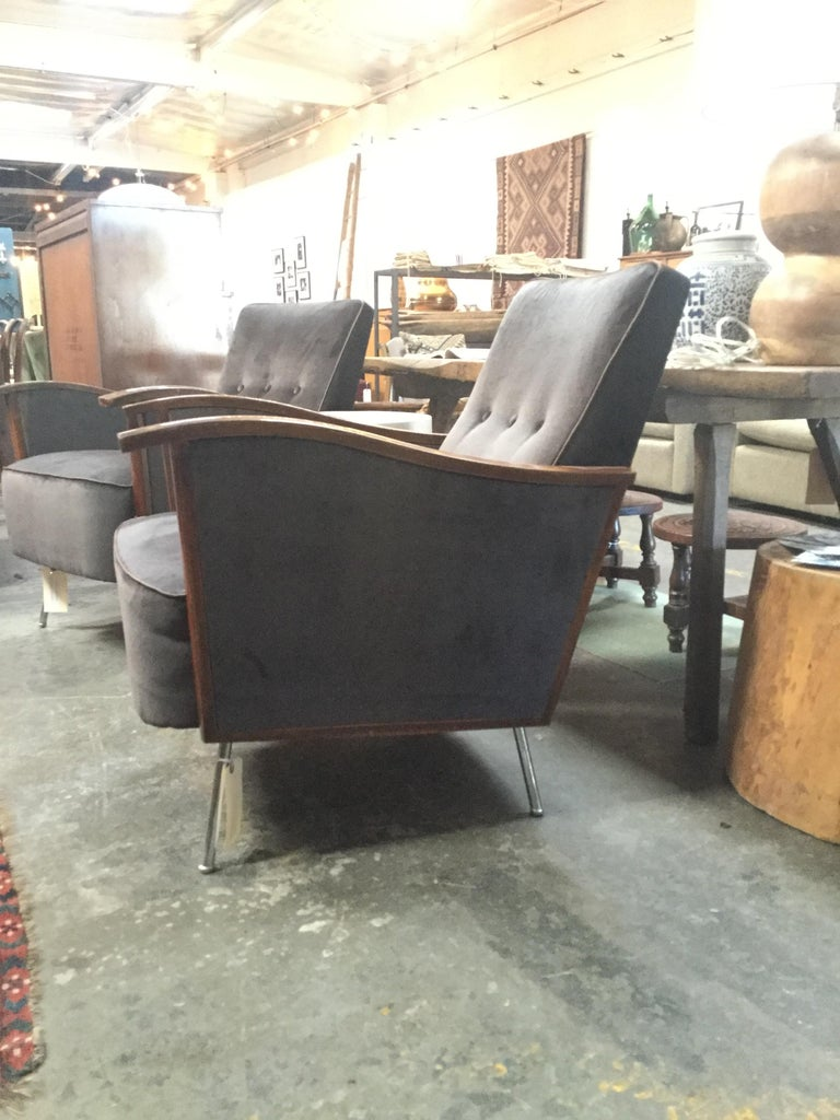 Pair of vintage French Art Deco style chairs. Reupholstered in a midnight velvet with a mahogany finish.