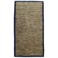 Vintage Art Deco Chinese Dark and Light blue, Brown and Beige Handmade Wool Rug