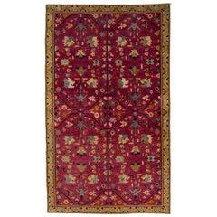 Vintage Art Deco Chinese Pink Wool Rug