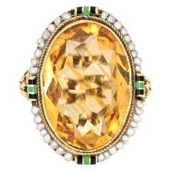 Vintage Art Deco Citrine Ring Enamel 14k Gold Filigree Cocktail Jewelry