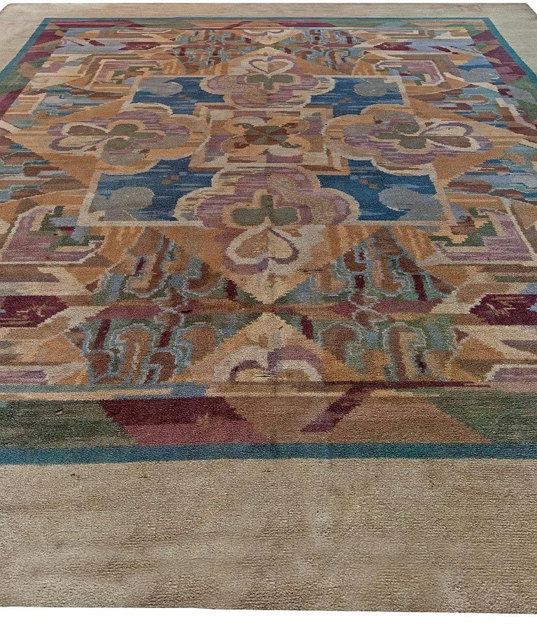 British Vintage Art Deco Colorful Machine Woven Rug by Frank Brangwyn For Sale
