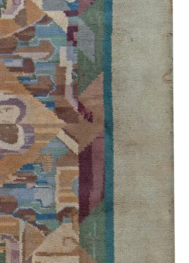 Machine-Made Vintage Art Deco Colorful Machine Woven Rug by Frank Brangwyn For Sale